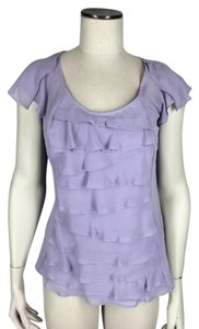 Worthington Tiered Attached Cami Fitted Cap Sleeves Top Purple