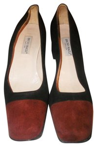 Bruno Magli Vintage Suede Black and Rust Pumps