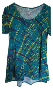 LuLaRoe Perfect T Xs Shirt Top Teal, purple, gold