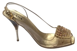 Prada Cinderella Met Gala Va-voom Crystals Bling Gold and Clear Sandals