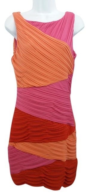 Preload https://img-static.tradesy.com/item/19846092/bcbgmaxazria-dark-pink-and-coral-colorblock-ruched-sheath-above-knee-short-casual-dress-size-8-m-0-2-650-650.jpg