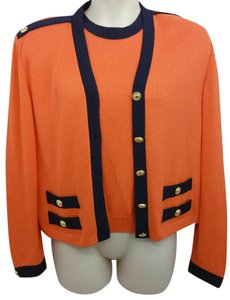 St. John Orange Knit Twinset Sweater