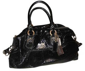 Coach Patent Leather Bronze Handles Satchel in Black