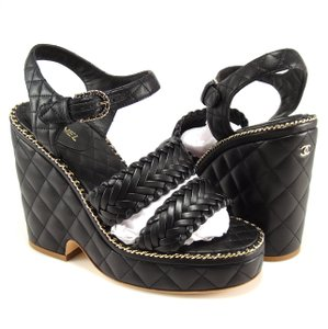 Chanel Quilted black Wedges
