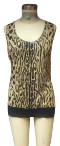 Escada Couture Cashmere Sweater Sleeveless Sweater Top Leopard