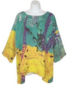 Citron Silk Printed Dolman Washable Tunic