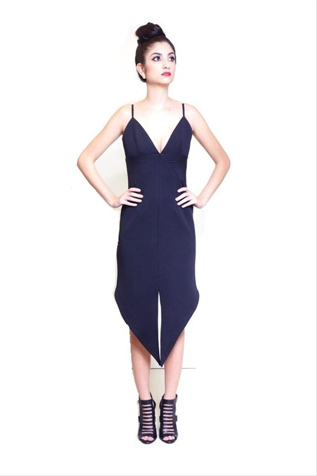 Whitney Eve Needles Fitted Long Split Front Black High-low Cocktail ...