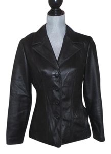Wilson Buttoned Front black Leather Jacket