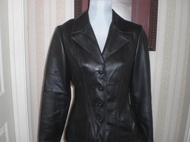Wilson Buttoned Front black Leather Jacket Image 1