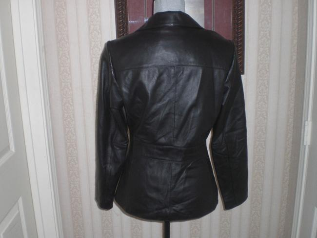 Wilson Buttoned Front black Leather Jacket Image 2