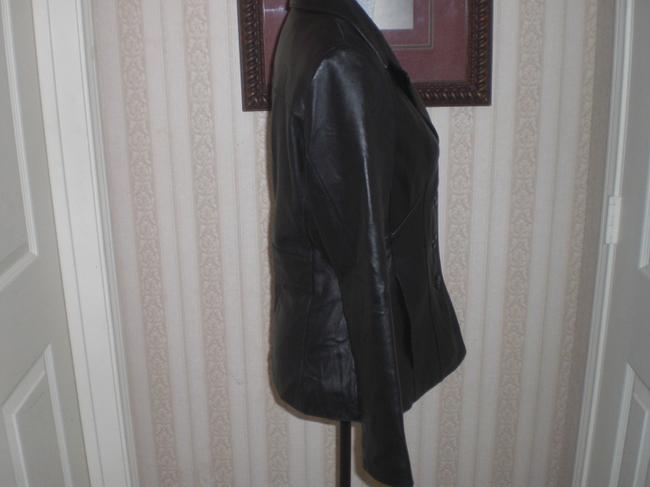 Wilson Buttoned Front black Leather Jacket Image 3