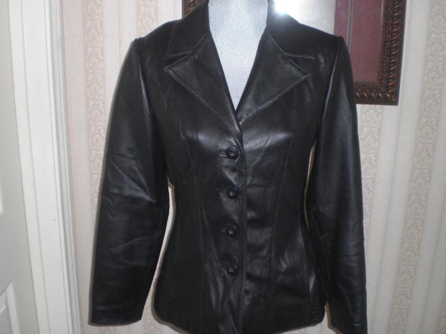Wilson Buttoned Front black Leather Jacket Image 4