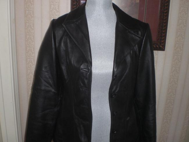 Wilson Buttoned Front black Leather Jacket Image 7