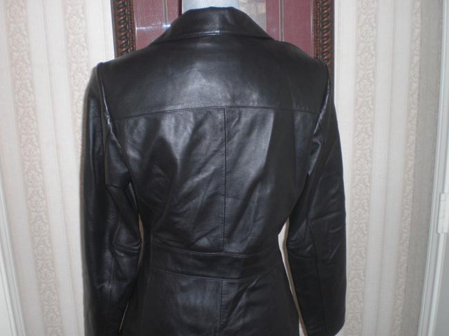 Wilson Buttoned Front black Leather Jacket Image 8