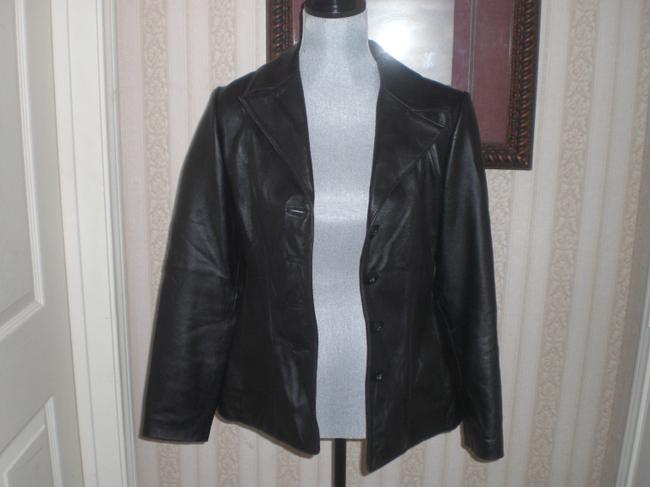 Wilson Buttoned Front black Leather Jacket Image 9