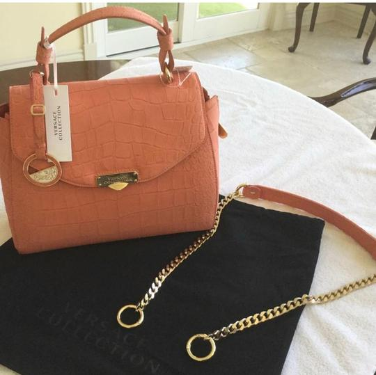 Versace Collection Satchel in Coral Image 1