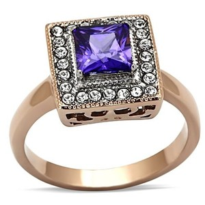 La Bella Rose Rose Gold Stainless Steel Amethyst CZ Ring - 07158