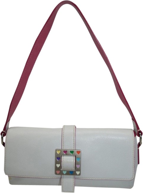 Item - Hearts Buckle White and Pink Leather Cross Body Bag