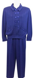 St. John ST. JOHN COLLECTION PURPLE KNIT PANT SUIT L