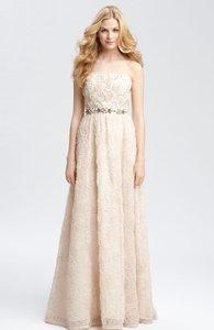 Adrianna Papell Blush Strapless Tulle Ball Gown Feminine Wedding Dress Size 12 (L)