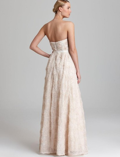 Adrianna Papell Blush Strapless Tulle Ball Gown Feminine Wedding Dress Size 12 (L) Image 1