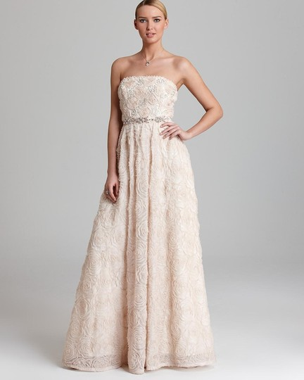 Adrianna Papell Blush Strapless Tulle Ball Gown Feminine Wedding Dress Size 12 (L) Image 3