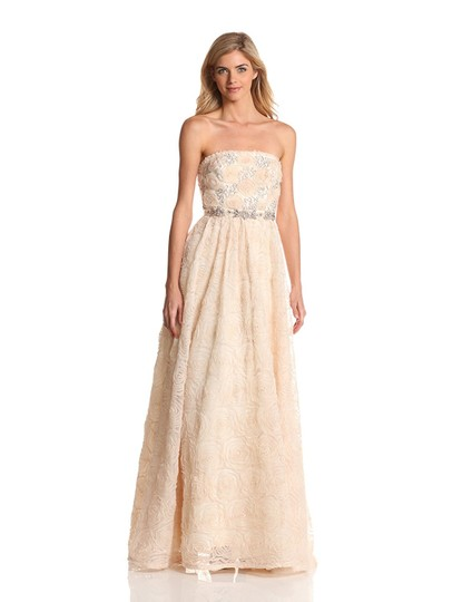 Adrianna Papell Blush Strapless Tulle Ball Gown Feminine Wedding Dress Size 12 (L) Image 5