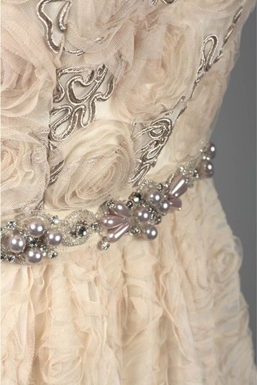 Adrianna Papell Blush Strapless Tulle Ball Gown Feminine Wedding Dress Size 12 (L) Image 6