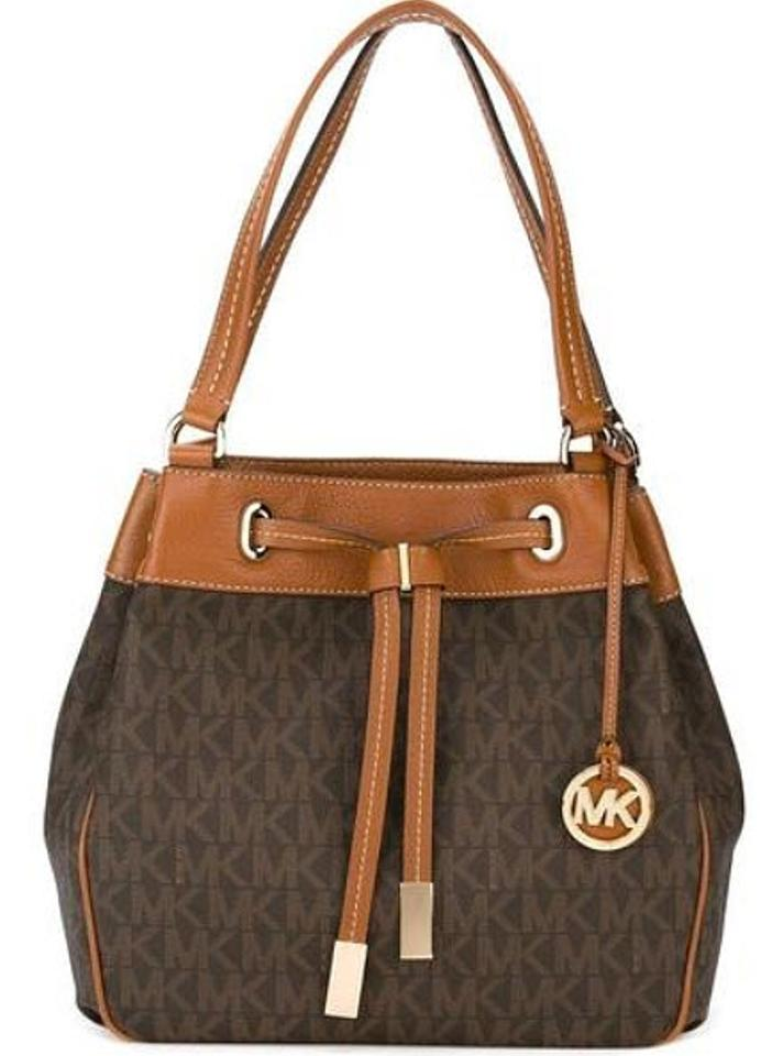 4eed97f5a622 ... purchase michael kors satchel jule drawstring marina tote in brown gold  tone. 1234 ce731 e133b