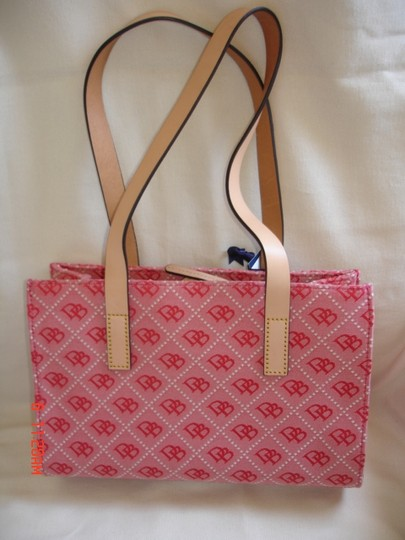 Dooney & Bourke Quilt Print Natural Leather Tote in RED