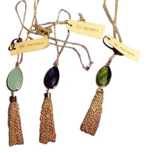 Athra Athra Better Jewelry Tassel and Faux Gem Pendant