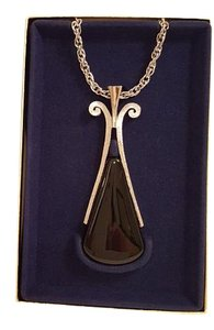 Avon Silver Tone Ebony Teardrop Pendant Necklace
