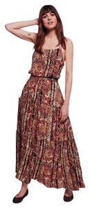 Black Floral Print Maxi Dress by Free People Boho Maxi Tiered