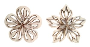 Cream Enamel Silver Retro Flower Brooch Set Vintage Cream Enamel Silver Tone Retro Floral Pin Set