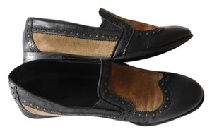 Franco Sarto Leather Faux Leather Tan - Black Flats