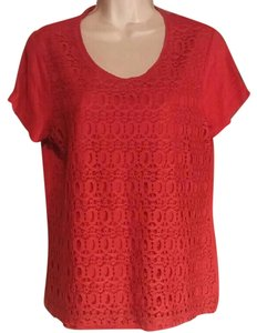 Chico's Chicos Chicoscrochet Top Red