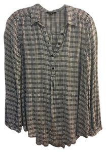 Lucky Brand Tunic / Top Black White Plaid