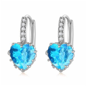 Fine Jewelry Vault New Cubic Zirconia Blue Heart Lever Back Earrings