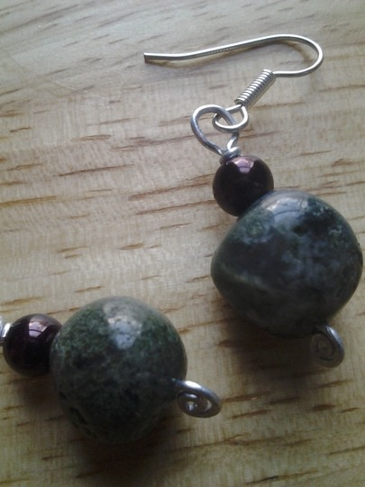 handmade Buy3Get1 NEW Handmade MOSS AGATE Nugget Drop Earrings NWOT