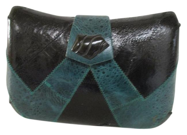 Hard Shell Body/Shoulder Black and Teal Leather Cross Body Bag Image 1