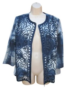 Chico's Tie-dye Embellished Blue Jacket