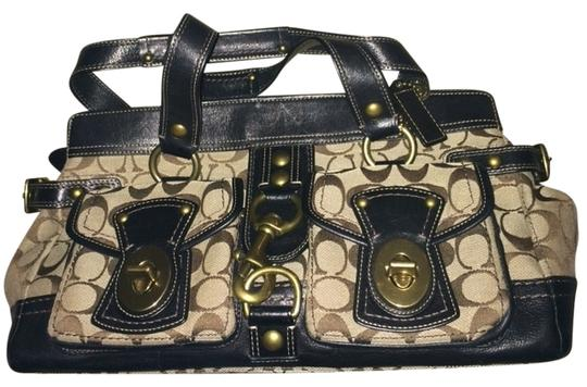Coach Leather Signature Satchel in Brown