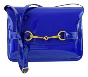 Gucci Horsebit Patent Leather Blue Clutch