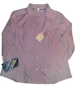 G.H. Bass & Co. Long Sleeve Button Down Shirt Lilac with plaid accents