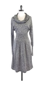 Rebecca Taylor Grey Leopard Print Wool Sweater Dress