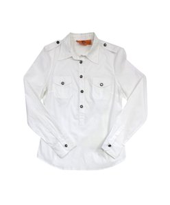 Tory Burch White Cotton Blend Utility Button Down Shirt