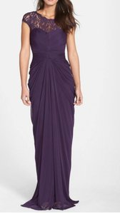 Adrianna Papell Aubergine (Purple) Lace Yoke Drape Gown Dress