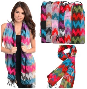 Belle Boutique Large Pashmina Wool Cashmere Chevron Print Fringe Infinity Scarf