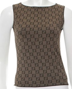 Fendi Zucca Monogram Logo Top Brown, Beige, Black