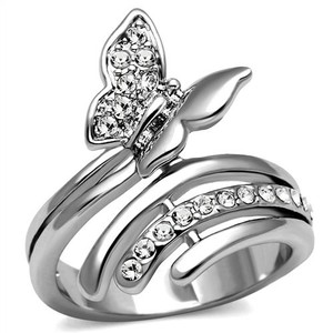 La Bella Rose Stainless Steel Clear CZ Butterfly Ring - 08652